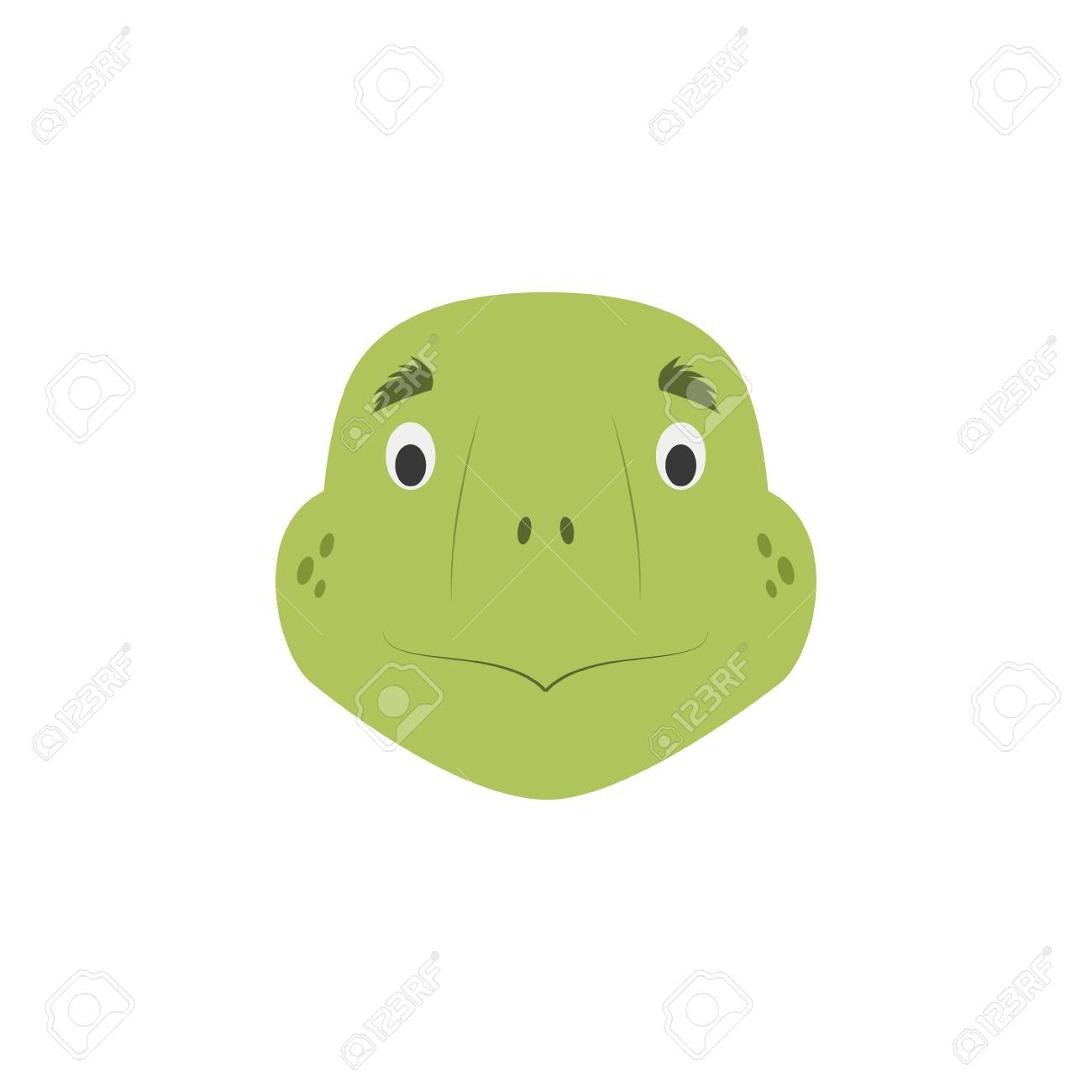 Turtle Face In Cartoon Style For Children Animal Faces Vector