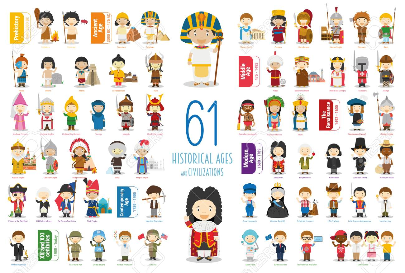 Kids Vector Characters Collection: Set of 61 Historical Ages and Civilizations in cartoon style. - 117337546