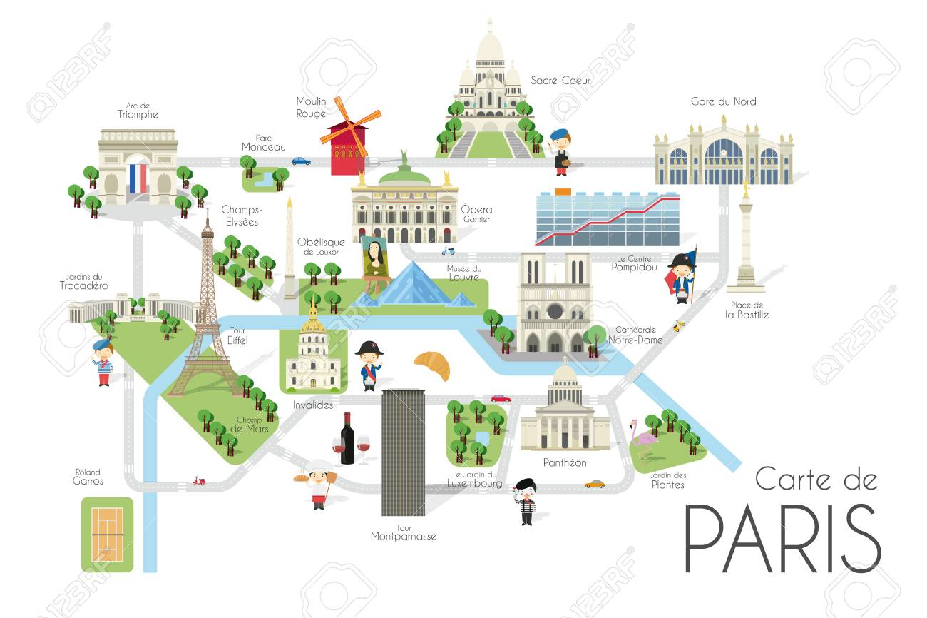 Cartoon vector map of the city of Paris, France. Travel illustration..