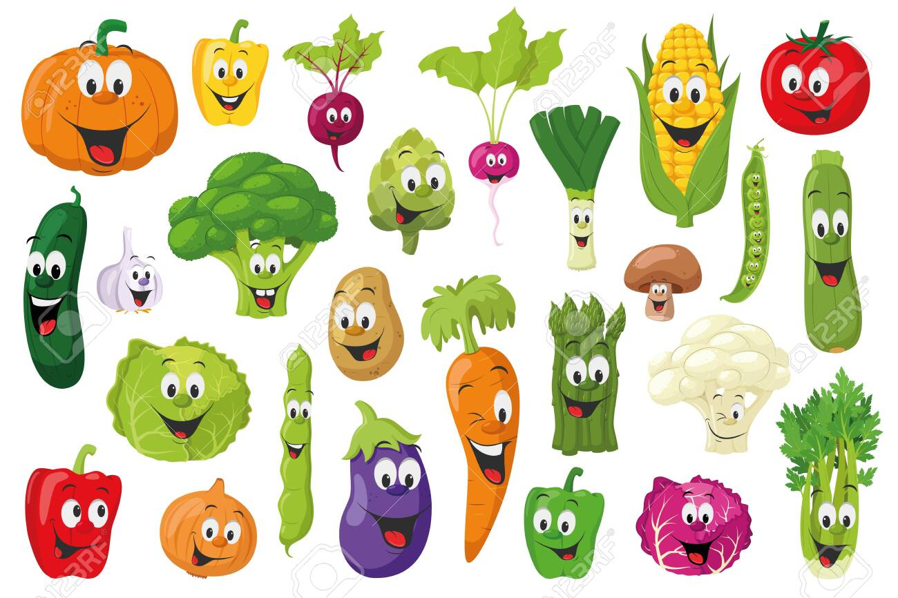Vegetables Characters Collection: Set of 26 different vegetables in cartoon style Vector illustration - 135813325