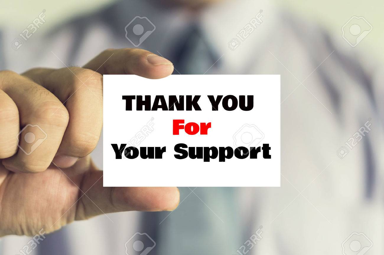 Businessman showing business card with thank you for your support businessman showing business card with thank you for your support message on the card shown by colourmoves
