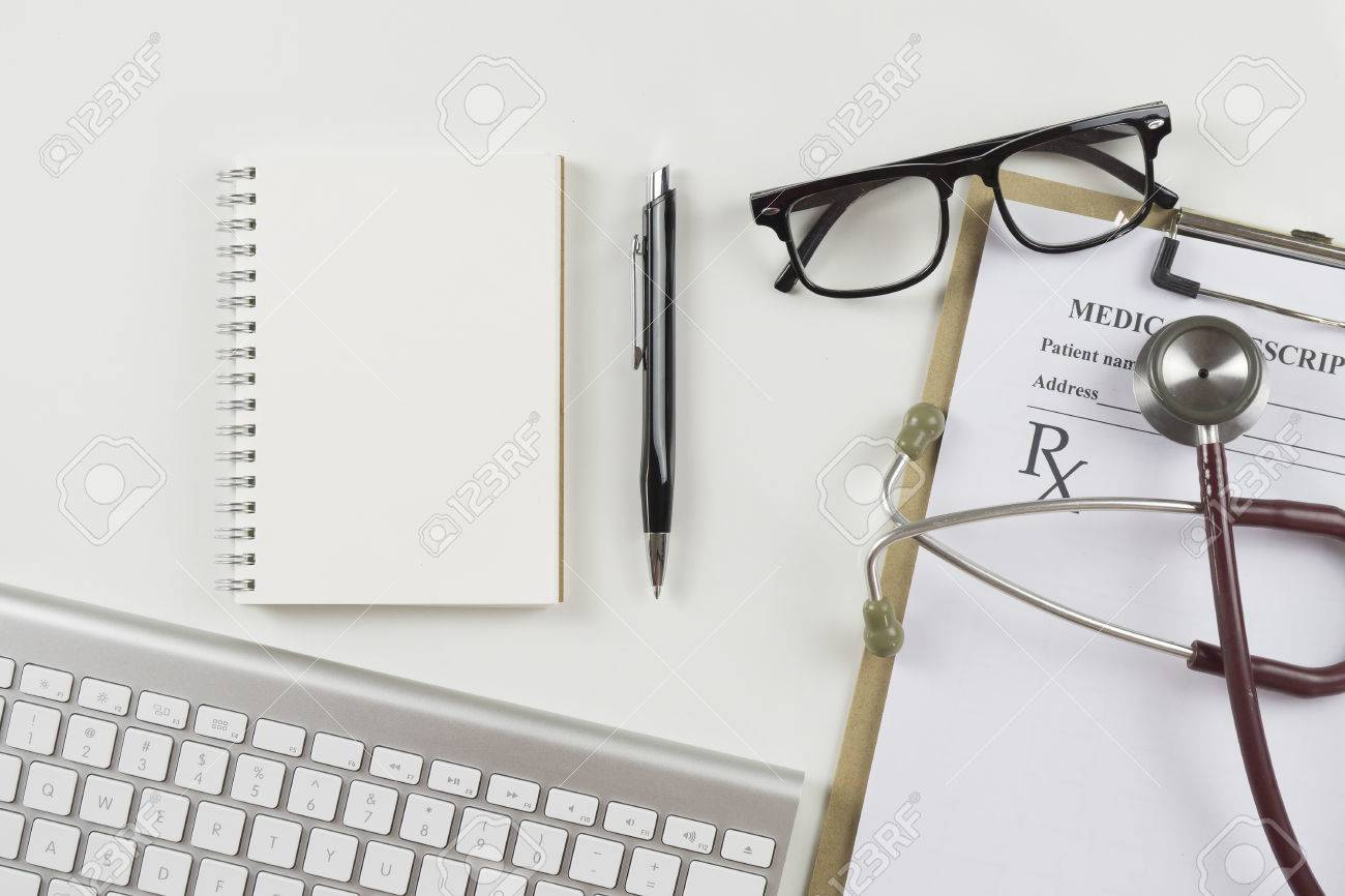 modern doctors office. Stock Photo - Top View Of Modern, Sterile Doctors Office Desk. Medical Accessories On A White Background With Copy Space Around Products. Modern