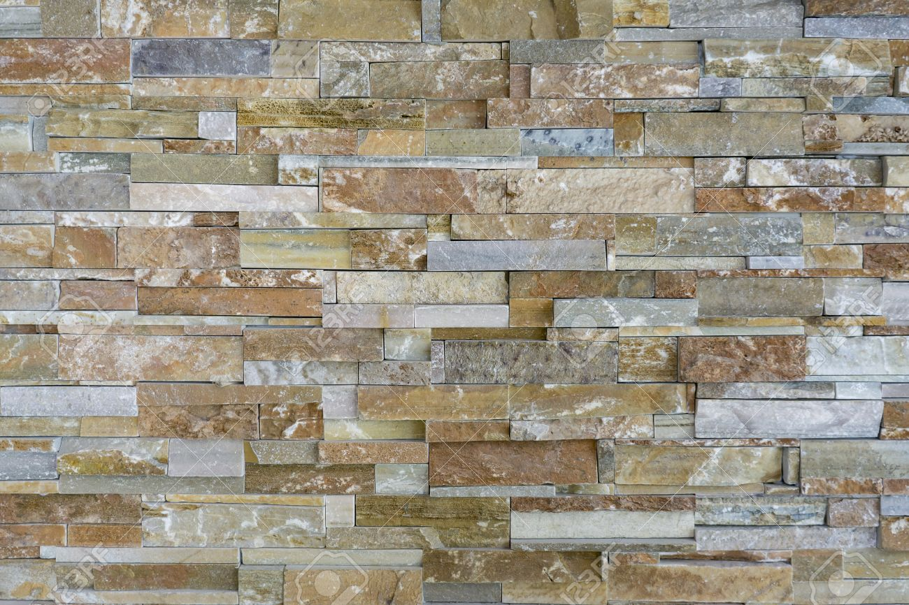 Pattern Of Natural Stone Pieces Tiles For Walls,orange Slate.. Stock ...
