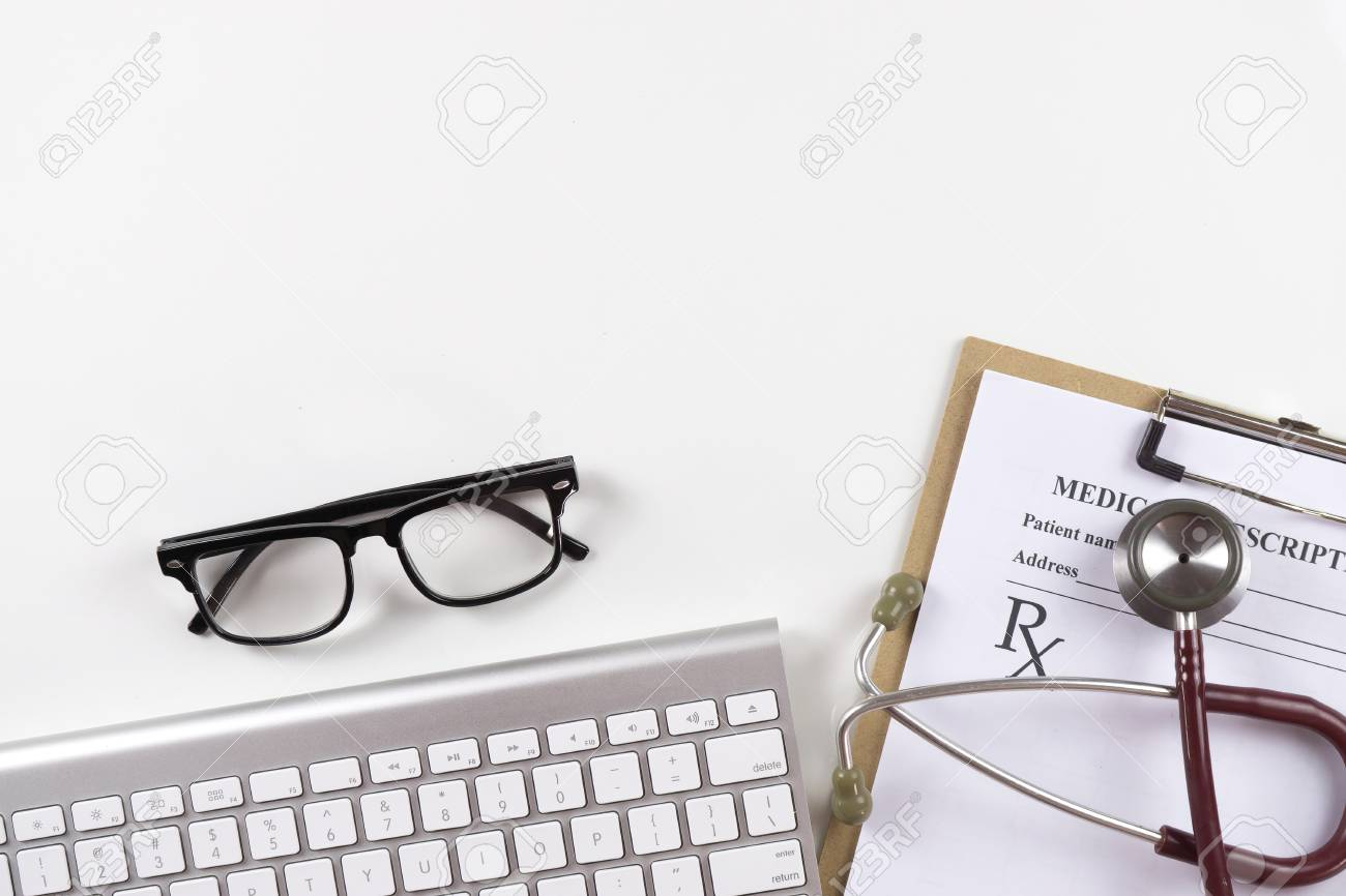 modern doctors office. Top View Of Modern, Sterile Doctors Office Desk. Medical Accessories On A White Background Modern