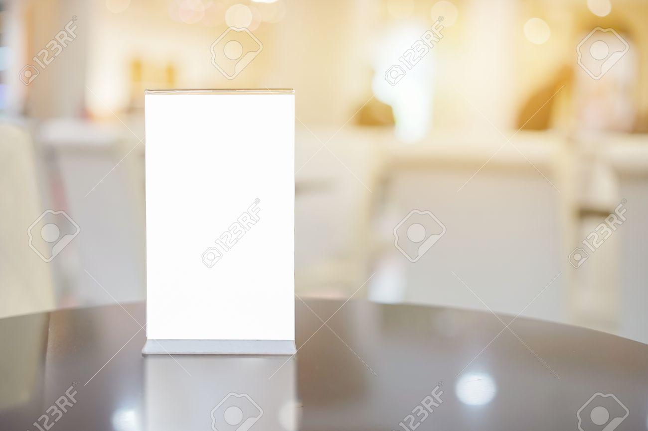 Mock Up Menü Frame Auf Tisch Im Restaurant Bar Stehen Für