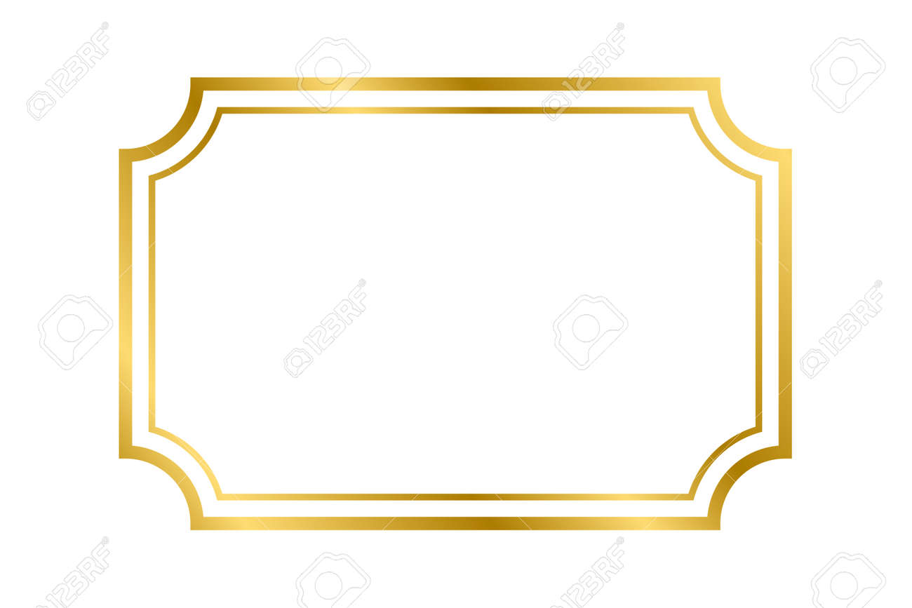 Gold shiny glowing vintage rectangle frame with shadows isolated on white background. Gold realistic rectangle border for decoration, photo, banner. Vector illustration. Vector illustration - 157202217
