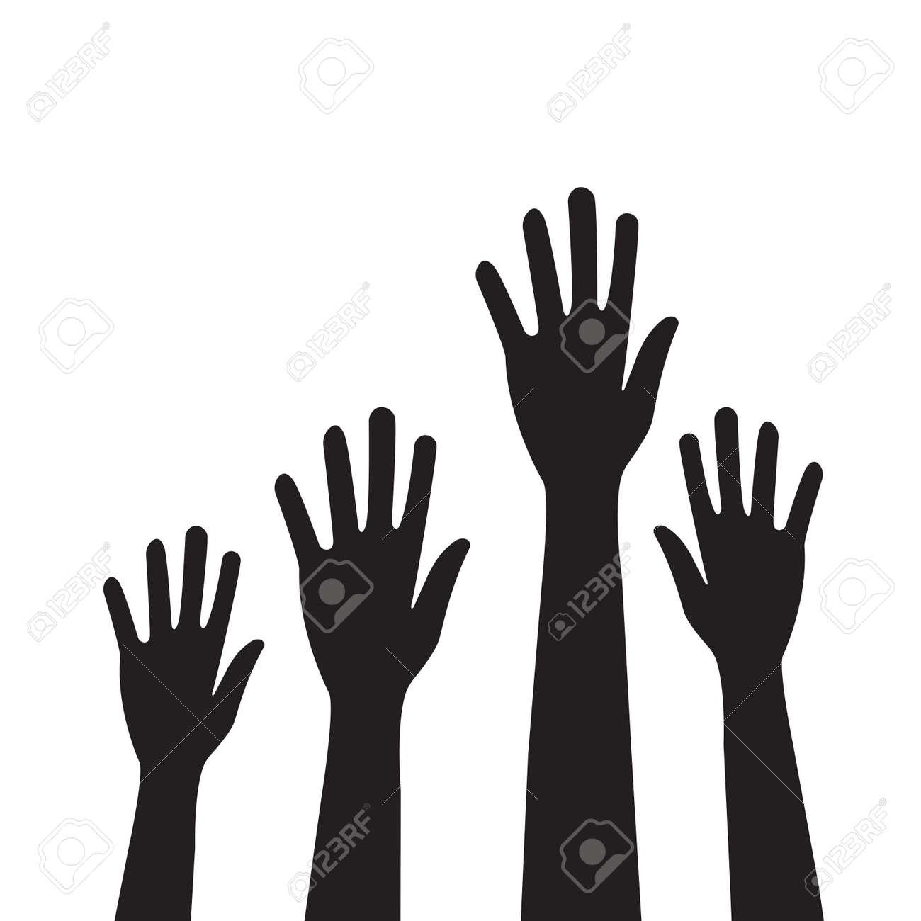 People hands raised vector for graphic design, logo, web site, social media, mobile app, ui illustration - 169916418