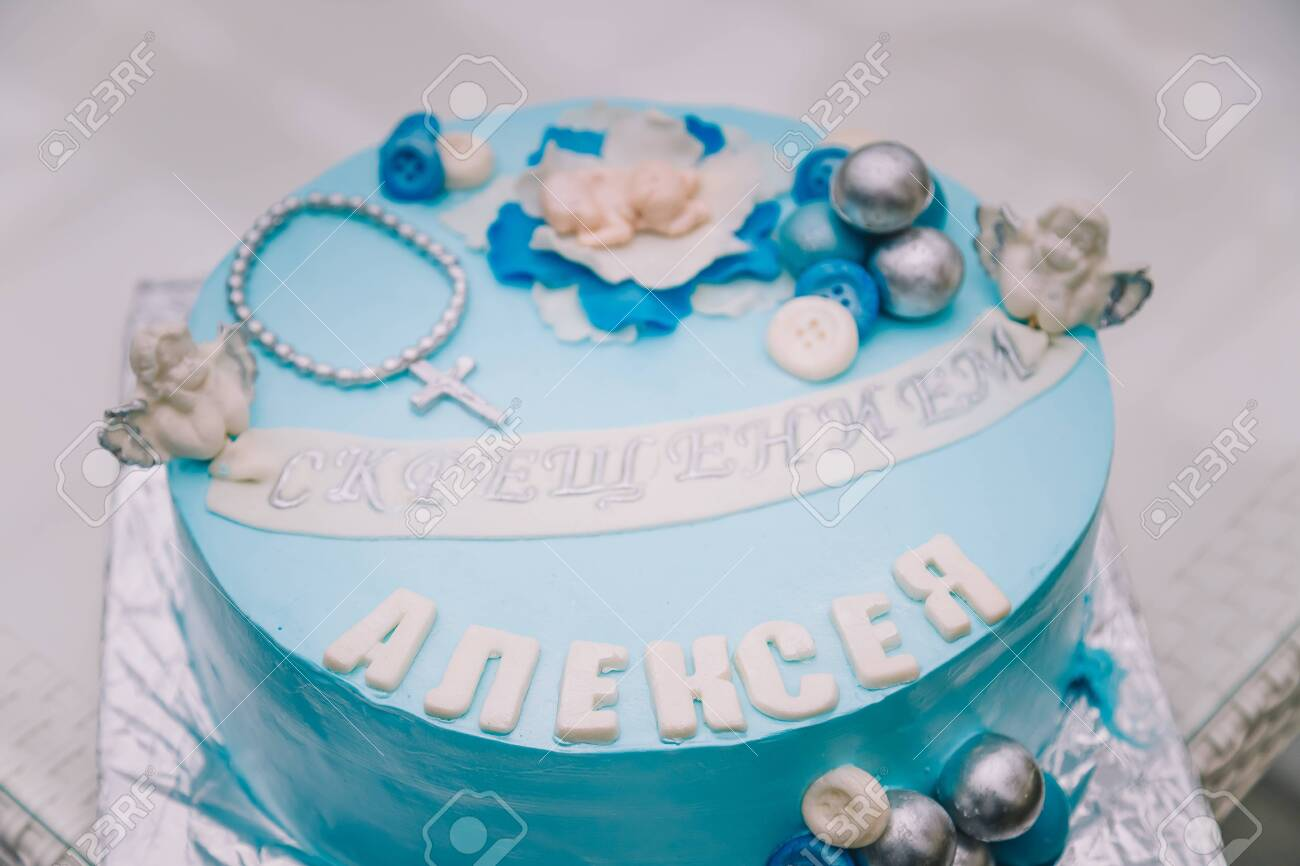 Peachy Blue Cake With Mastic Cross And Angels For Boy Christening Party Funny Birthday Cards Online Elaedamsfinfo