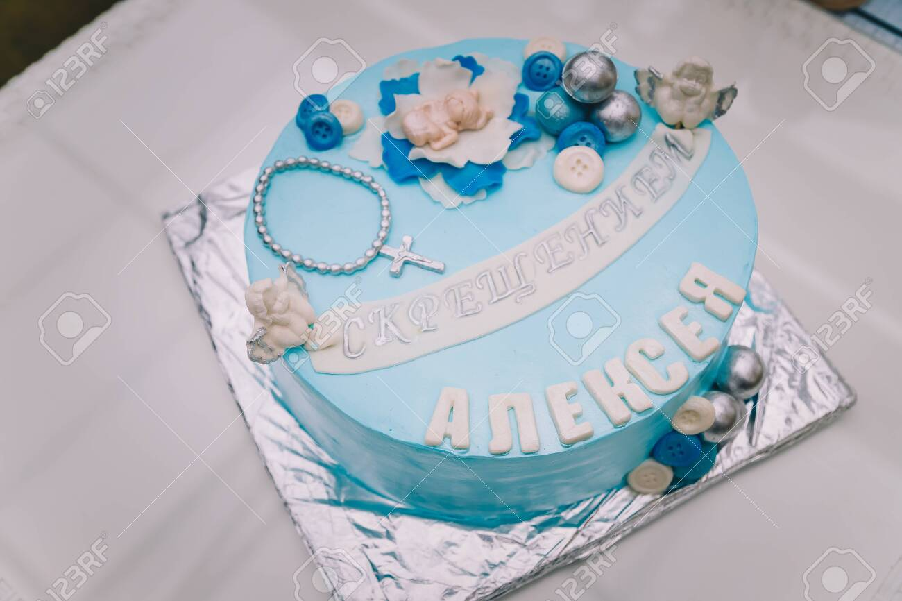 Swell Blue Cake With Mastic Cross And Angels For Boy Christening Party Funny Birthday Cards Online Elaedamsfinfo