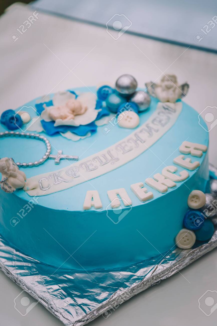 Sensational Blue Cake With Mastic Cross And Angels For Boy Christening Party Funny Birthday Cards Online Elaedamsfinfo