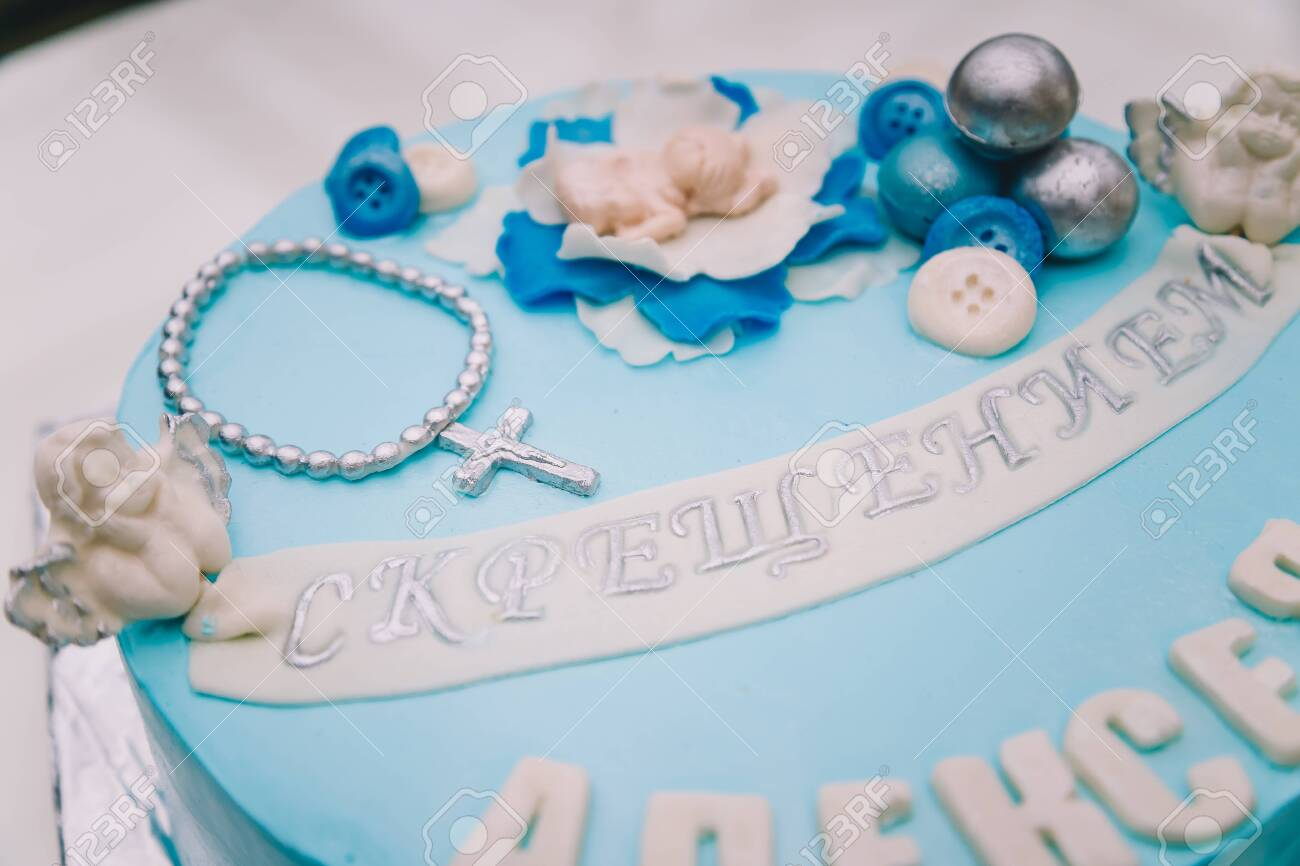 Wondrous Blue Cake With Mastic Cross And Angels For Boy Christening Party Funny Birthday Cards Online Elaedamsfinfo
