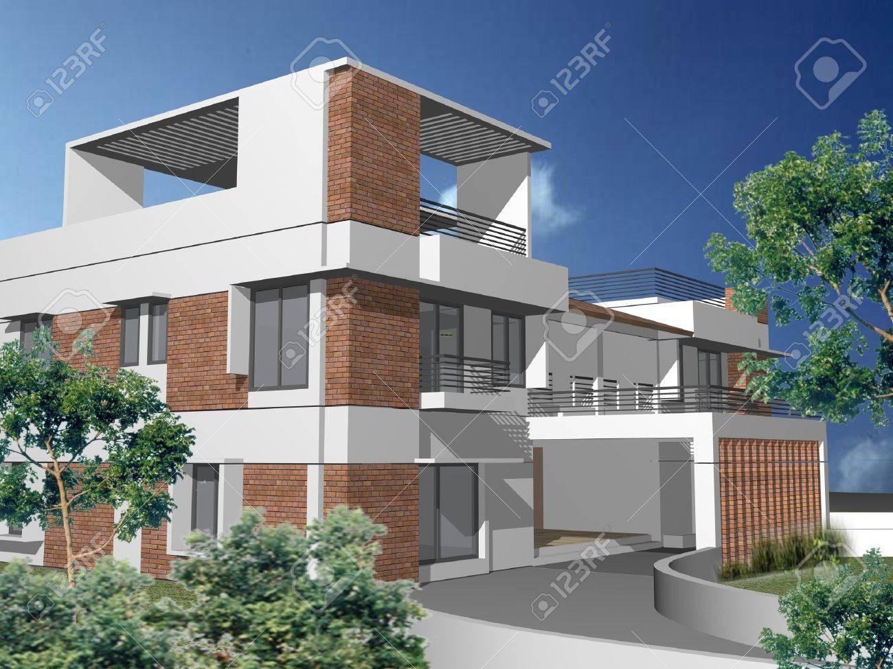 Modern 3d house Stock Photo - 12920826