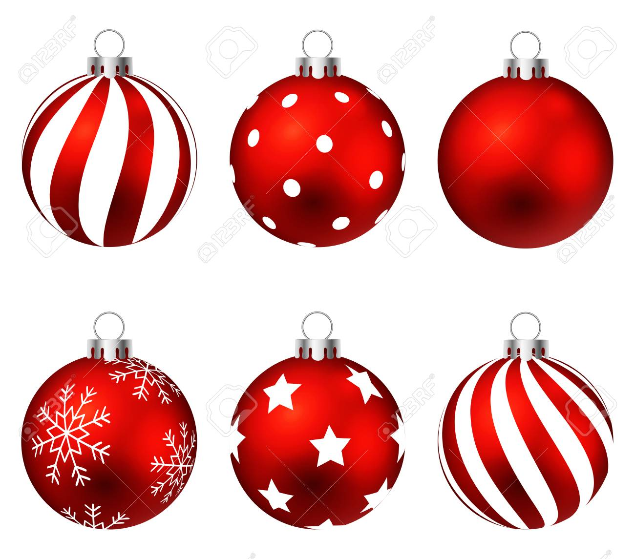 Red Christmas Balls On Gift Bows Isolated On White Set Vector