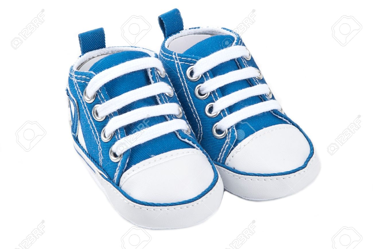 5a23756fc Blue baby shoes isolated on white background Stock Photo - 10446240