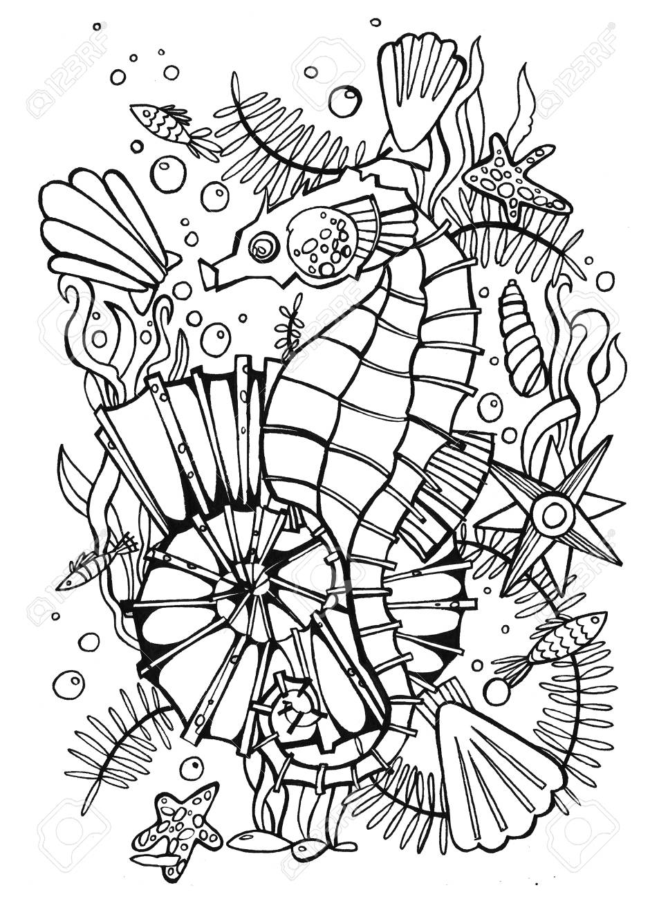 Hand Drawn Coloring Page Sea HorsePicture For Book Very Interesting And Relaxing