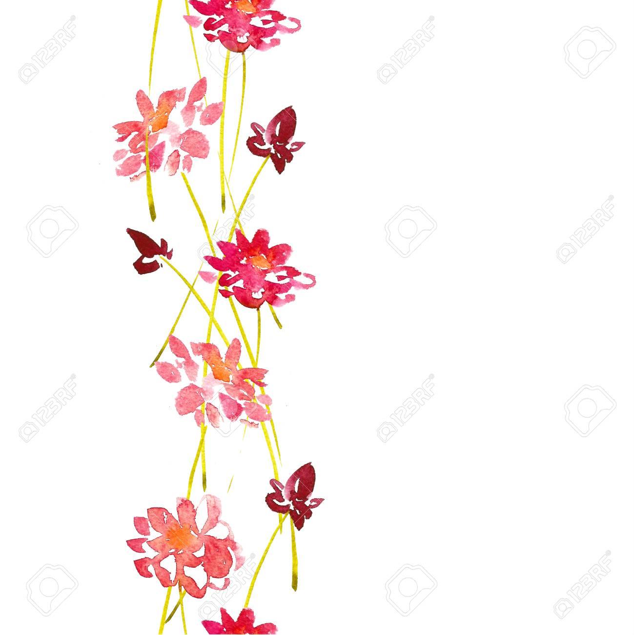 Acuarela Flores Rojas De Fondo. Patrón Sin Fisuras. Modelo ...