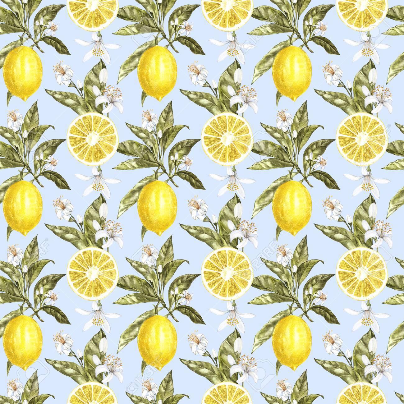 Modele Sans Couture Aquarelle De Citron Texture De Belle Main