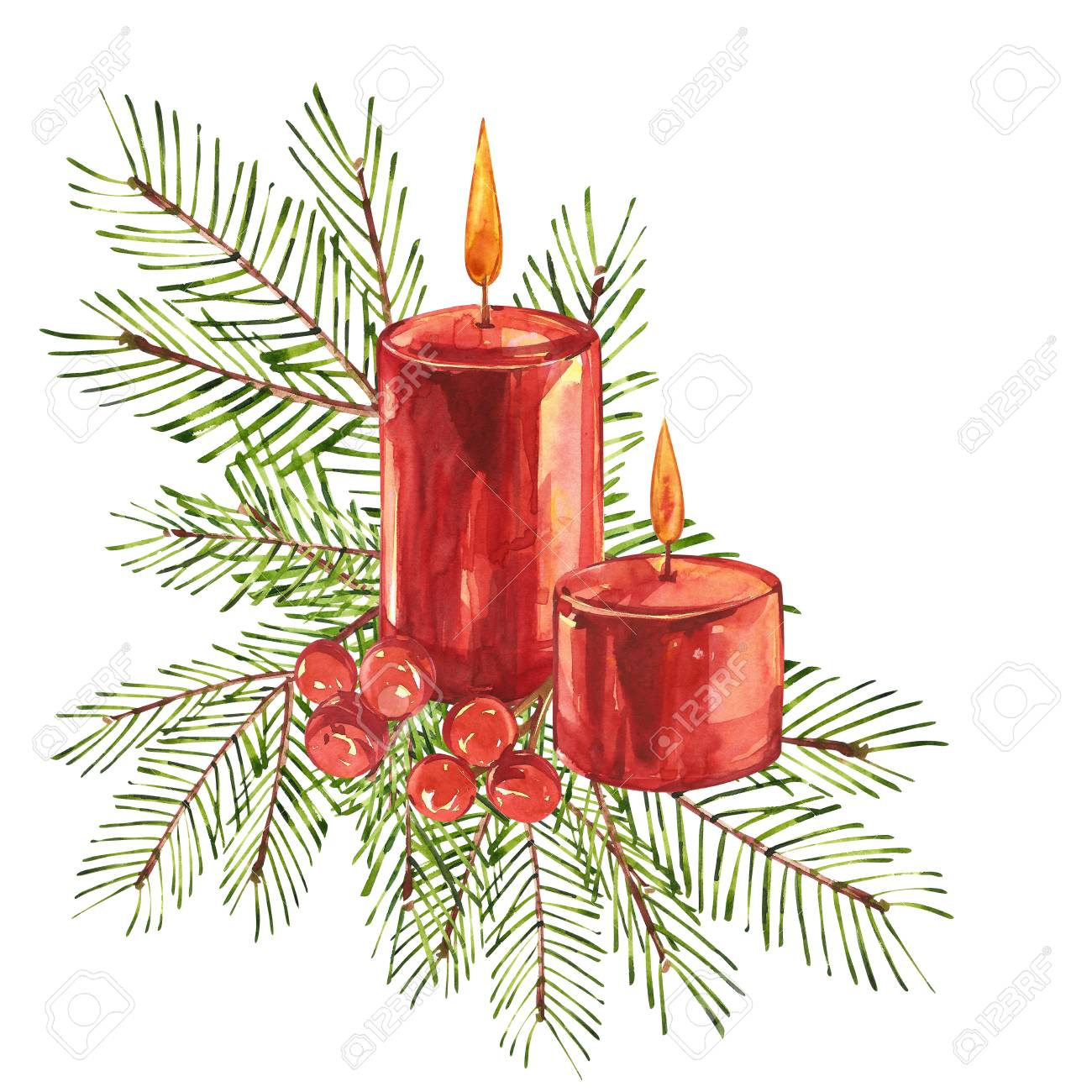 illustration vintage christmas illustrations christmas candle tree and decorations watercolor design isolated on white background