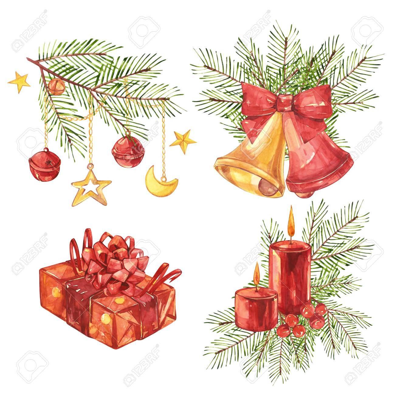 Conjunto De Ilustraciones De Navidad Vintage Vela De Navidad Arbol - Vintage-navidad