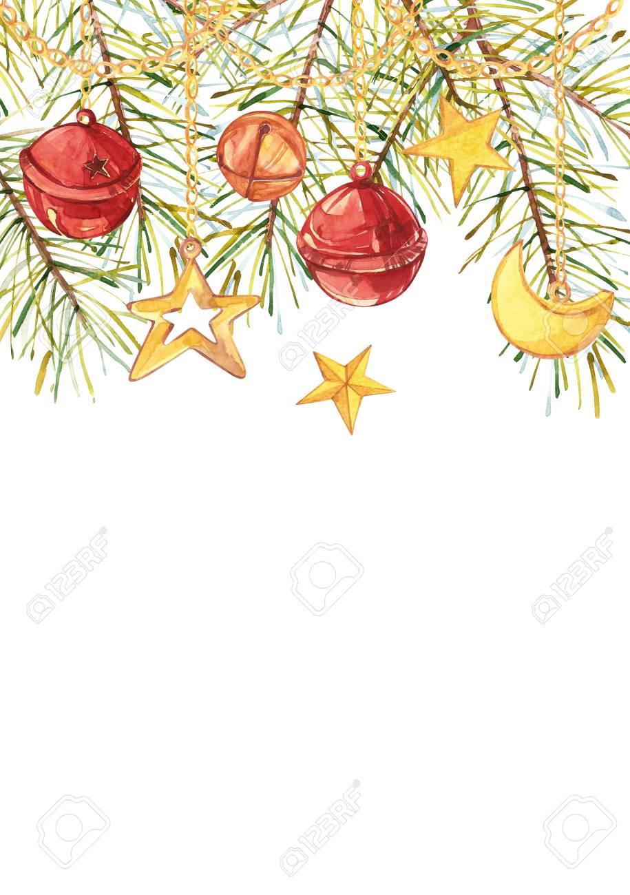 Acuarelas Ramas De árboles De Navidad Con Una Media Luna, Una ...