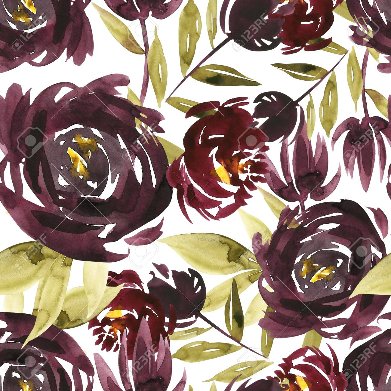 Flowers Watercolor Illustration. Seamless Pattern. Mothers Day ...