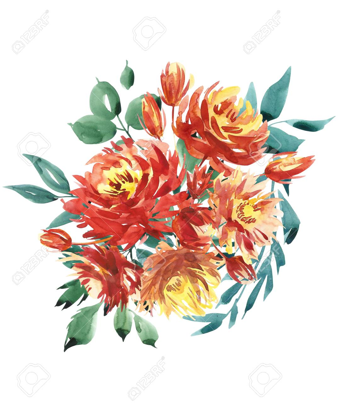 Flowers Watercolor Illustration. A Bouquet With A Big Red Peony ...