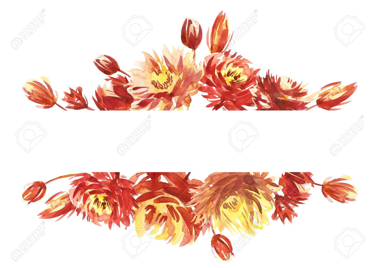 Beautiful Watercolor Border Frame With Peony, Flower, Foliage ...