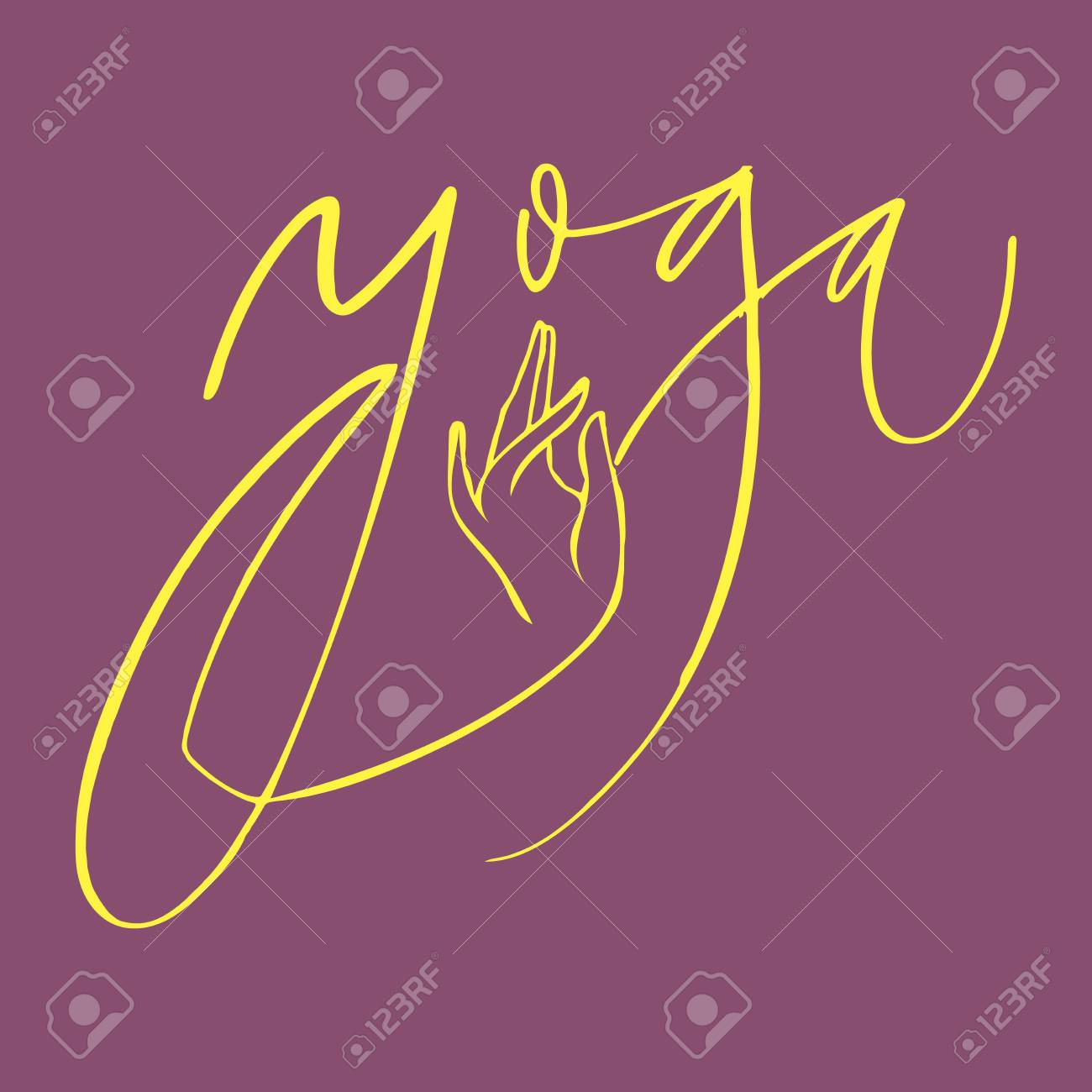 Hand Lettering Yoga Logo Letters Can Be Printed On Greeting