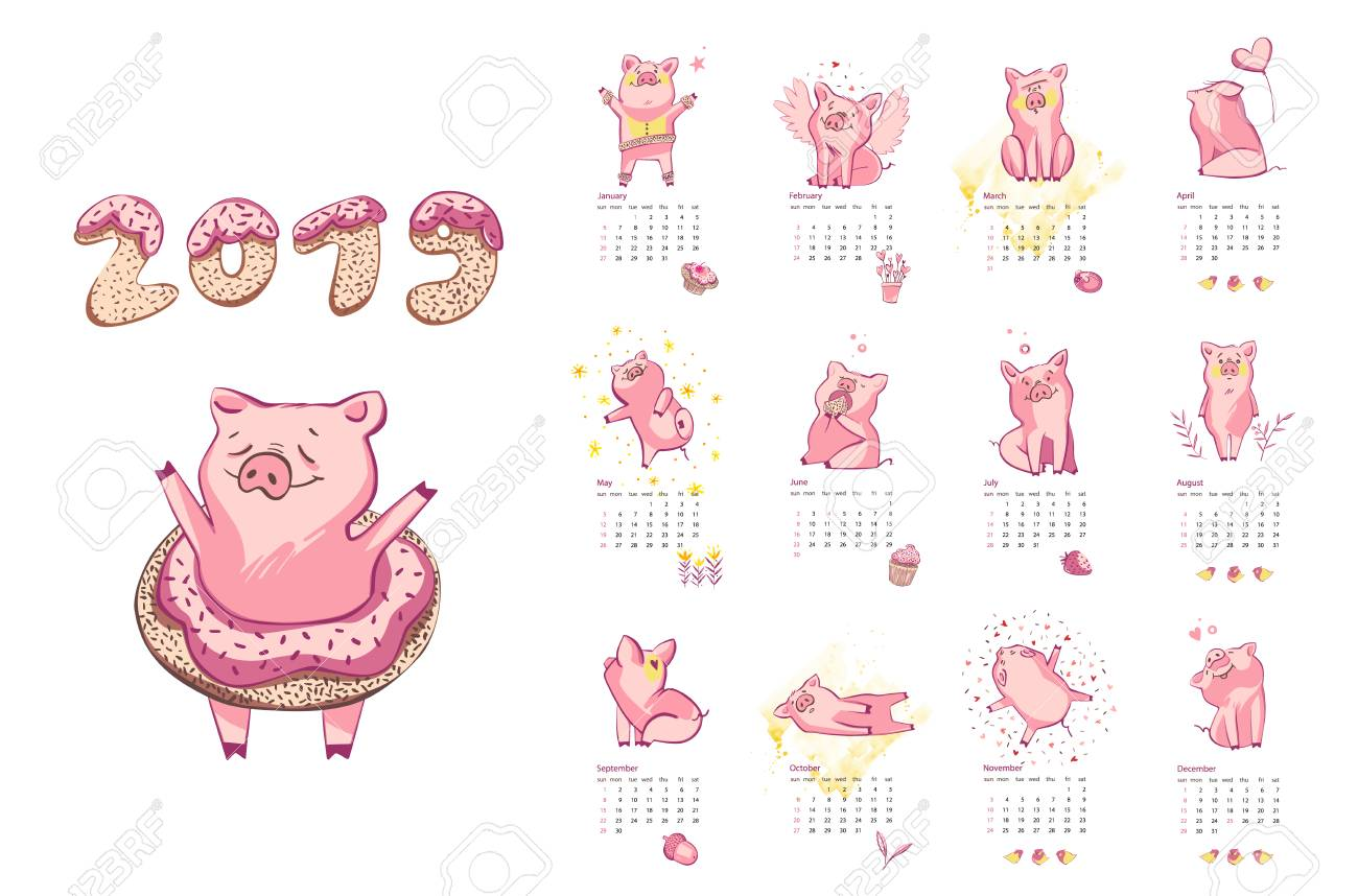 Monthly creative calendar 2019 with cute pig  Concept, vector