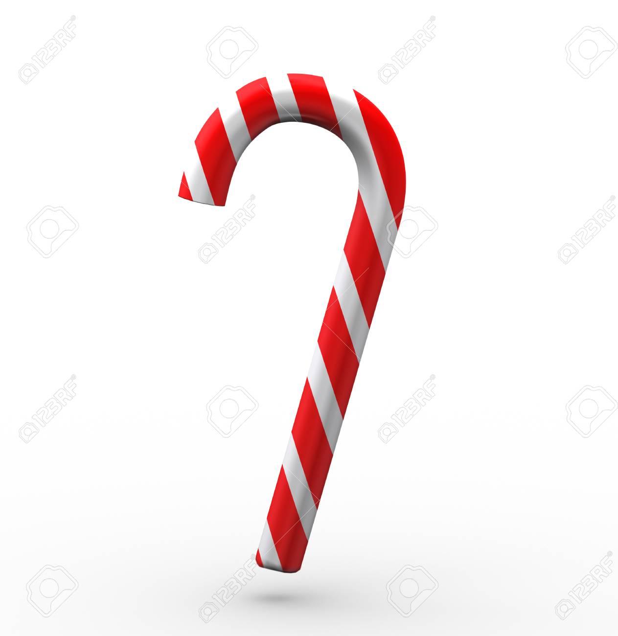 10D Darstellung Der Weihnachtszuckerstange Auf Weißem Hintergrund ...