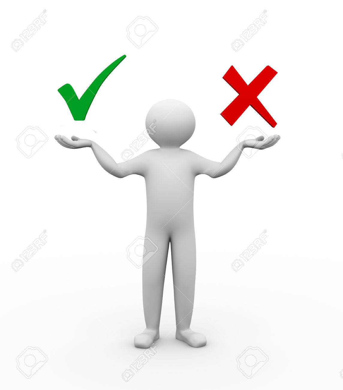 3d Illustration Of Person Holding Symbols Of Correct And Wrong
