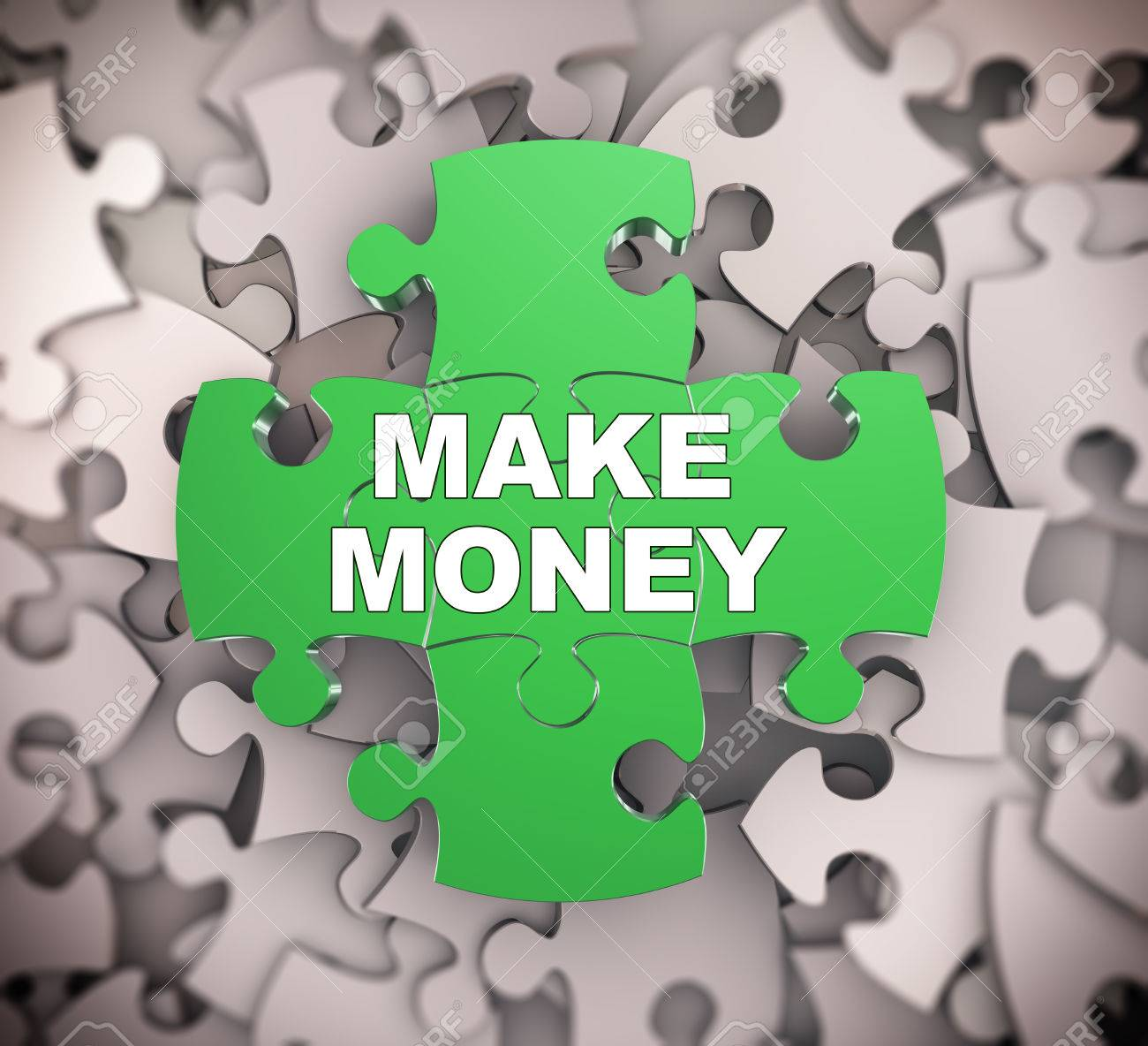 3d illustration of attached jigsaw puzzle pieces phrase make stock 3d illustration of attached jigsaw puzzle pieces phrase make money presentation on background of heap of toneelgroepblik Images