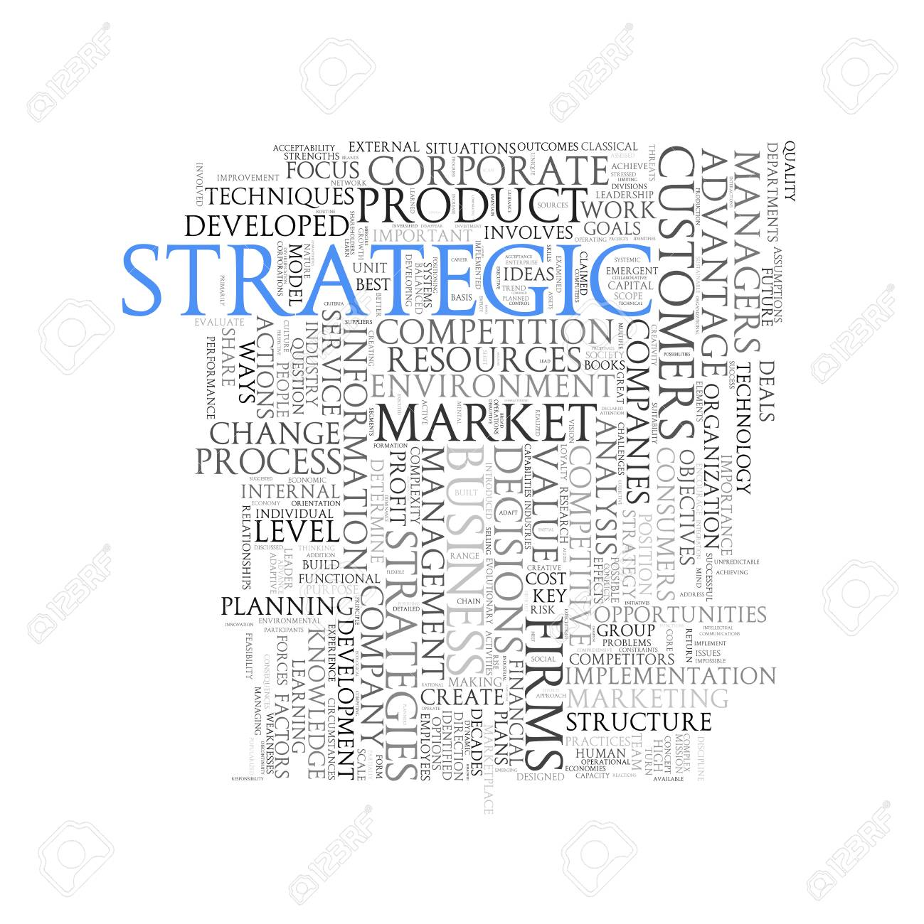 illustration of wordcloud word tags of concept of strategic
