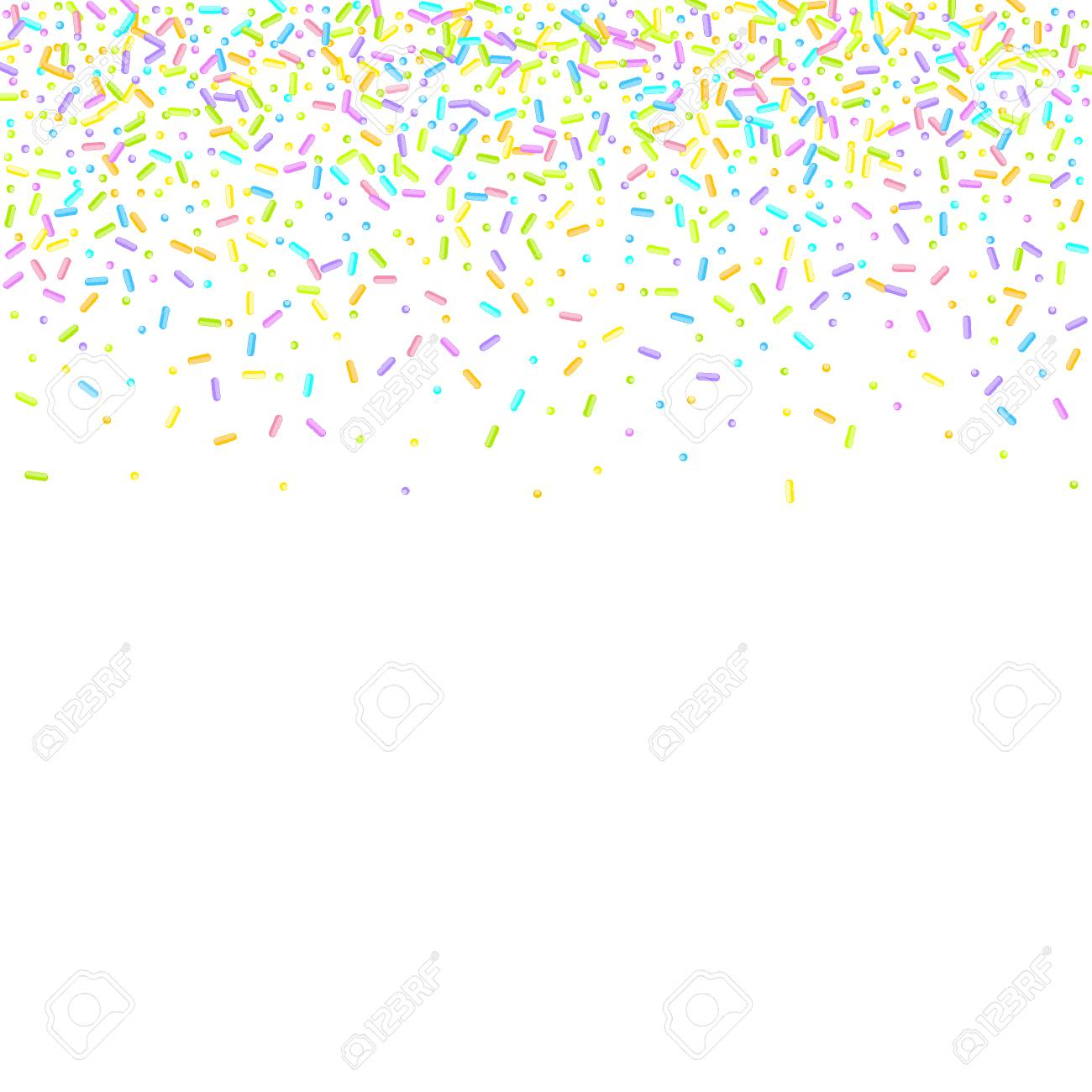 Sprinkles grainy. Sweet confetti on white chocolate glaze background. Cupcake, donuts, dessert, sugar, bakery background. Vector Illustration for holiday designs, party, birthday, wedding invitation. - 119907334