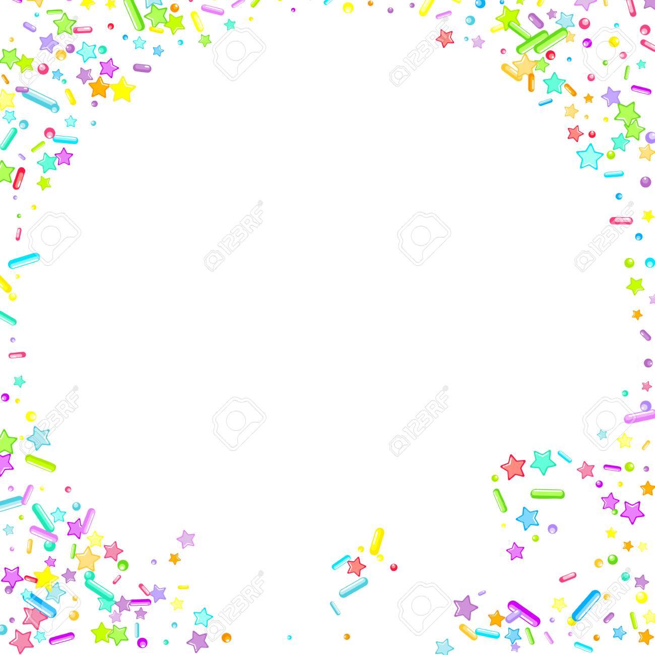 Sprinkles grainy. Cupcake donuts, dessert, sugar, bakery background. Sweet confetti on white chocolate glaze background. Vector Illustration sprinkles holiday designs, party, birthday, invitation. - 119910431
