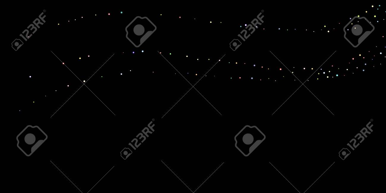Glitter Iridescent Stars. Holographic Sparkle Fall Confetti. Rainbow Sprocket, Shiny Little, Balls, Circles. Random Stellar Falling Black Background. New Year Scattered Christmas Vector illustration. - 134235277