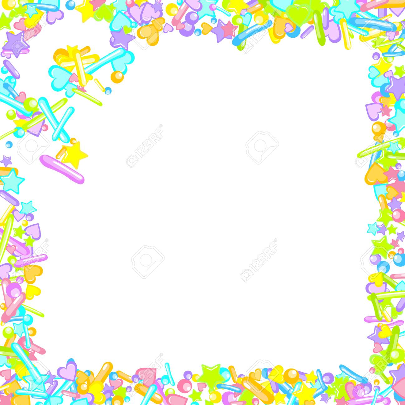 Sprinkles grainy. Cupcake donuts, dessert, sugar, bakery background. Sweet confetti on white chocolate glaze background. Vector Illustration sprinkles holiday designs, party, birthday, invitation. - 136172936