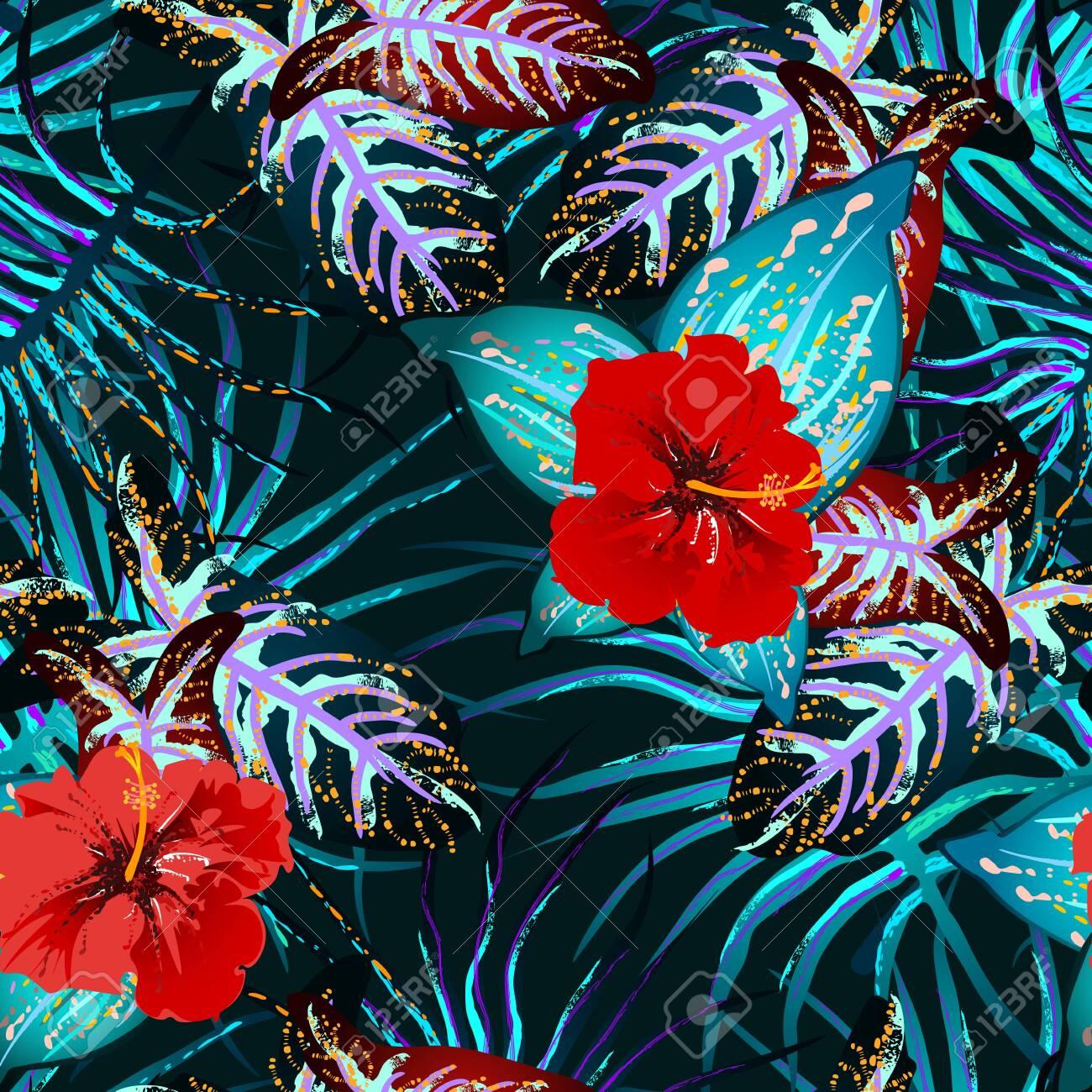 Tropical Leaf. Modern Motif. Jungle Print. Foliage Summer Seamless Pattern. - 144298998