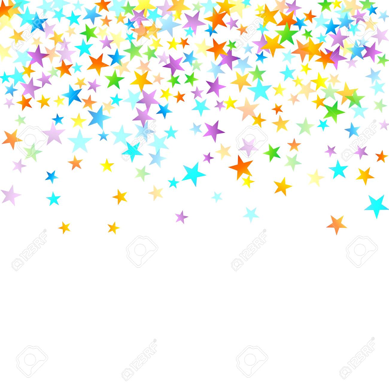 Rainbow Festive Confetti. Carnival Template. Colorful Star Falling. Beautiful Holidays Party. Little Tiny Multicolor Sprockets on White Background. Bright Vector Illustration. - 145556992