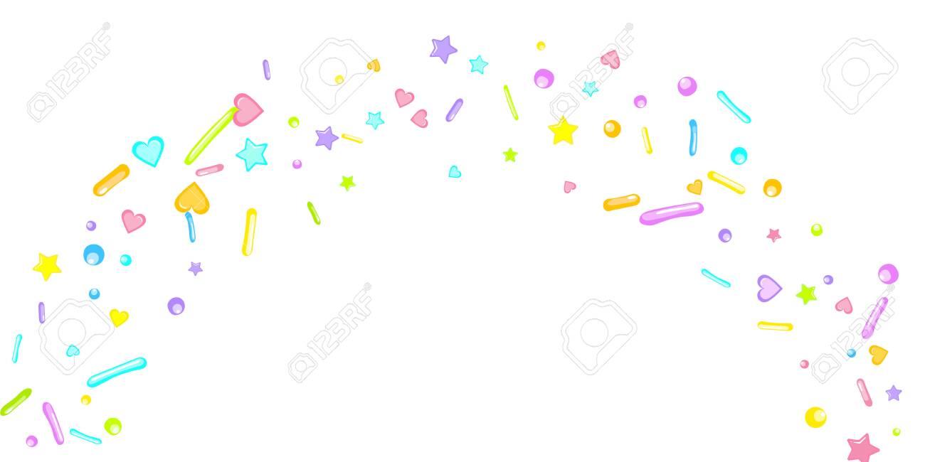 Sprinkles grainy. Cupcake donuts, dessert, sugar, bakery background. Sweet confetti on white chocolate glaze background. Vector Illustration sprinkles holiday designs, party, birthday, invitation. - 146040249