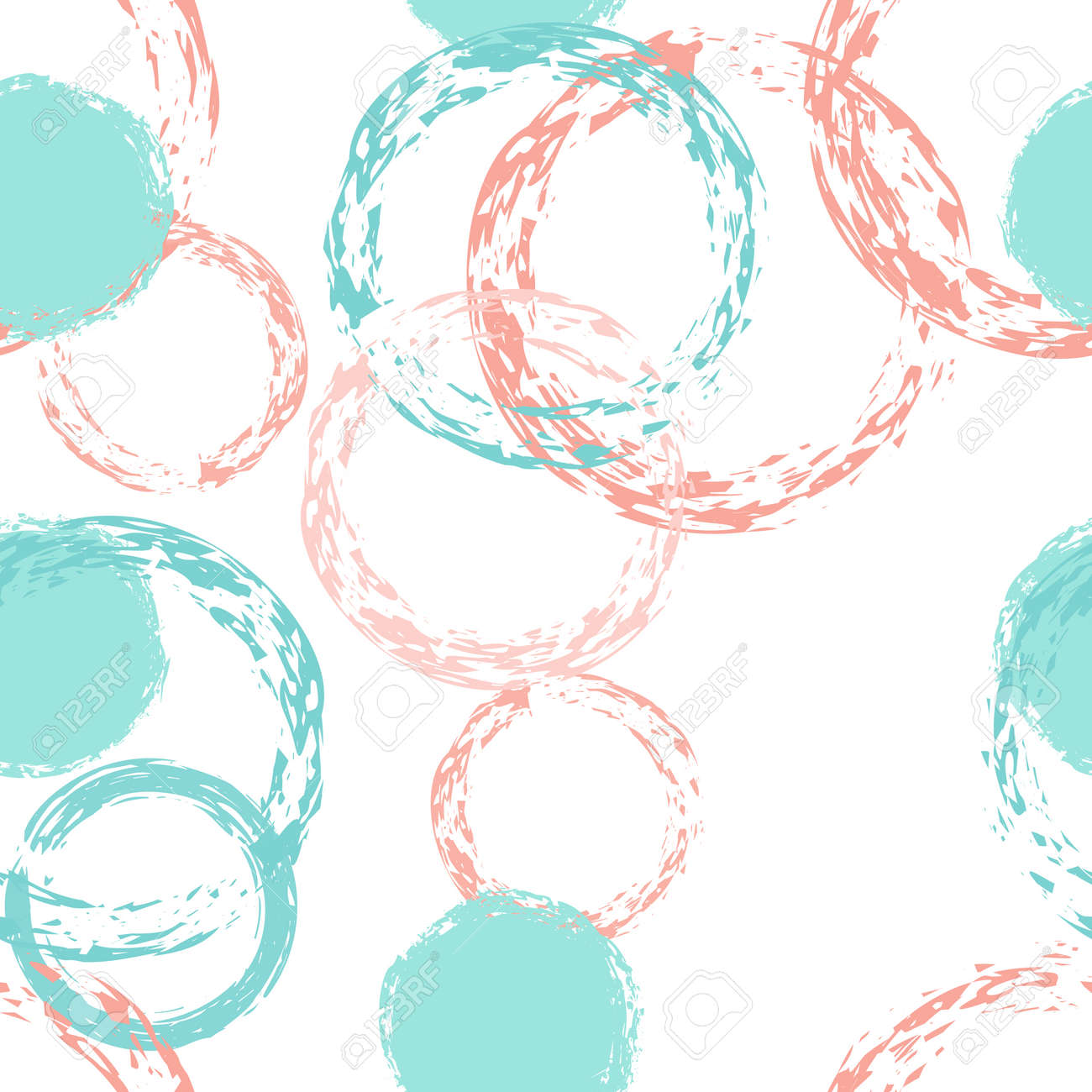 Black Brush Circle. Vector Seamless Pattern. Multicolor Ornament. White Abstract Background With Watercolor Fall Chaotic Shapes. Simple Soft Packaging. Chalk Brush Rounds, Confetti. - 150786174