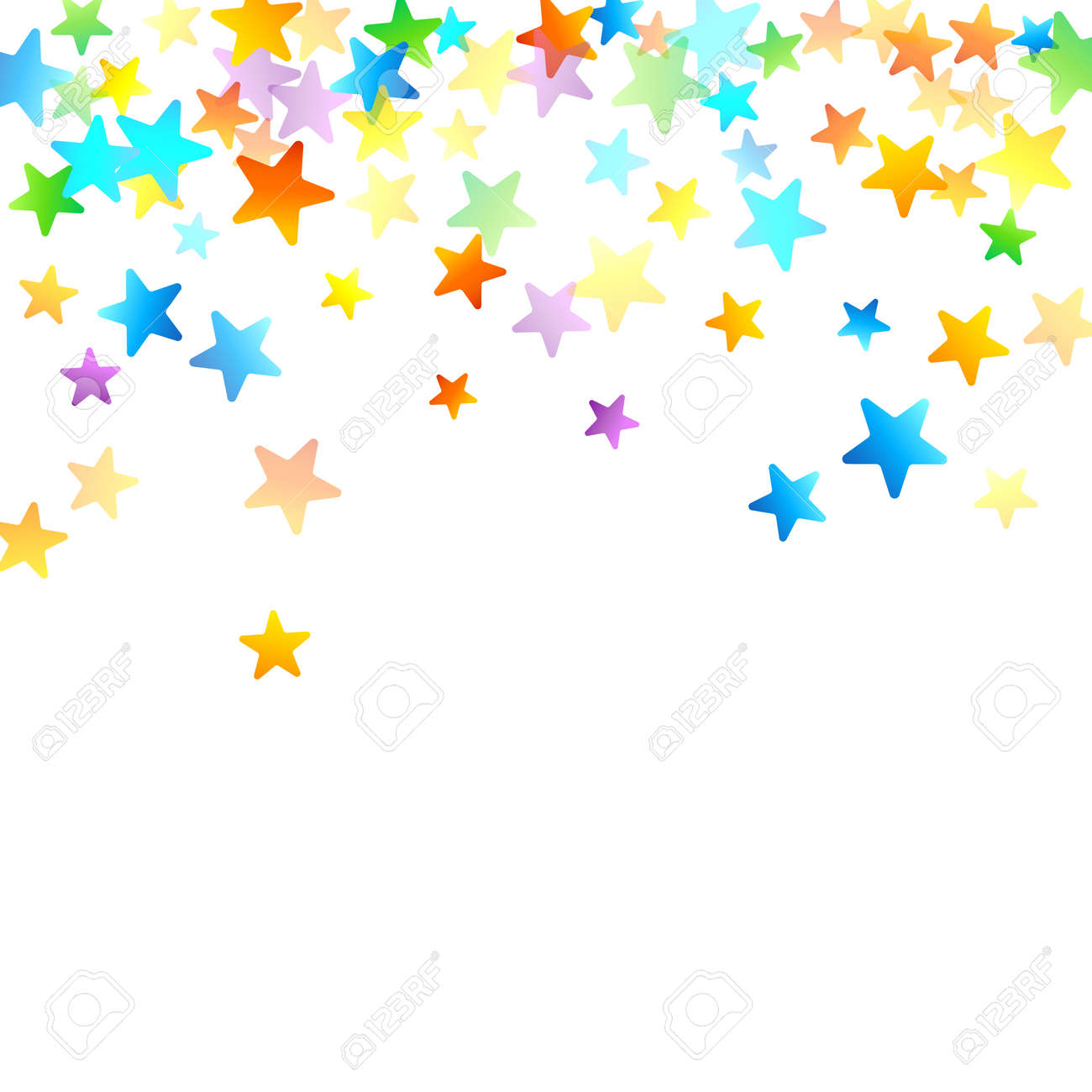 Rainbow Festive Confetti. Carnival Template. Colorful Star Falling. Beautiful Holidays Party. Little Tiny Multicolor Sprockets on White Background. Bright Vector Illustration. - 164155915