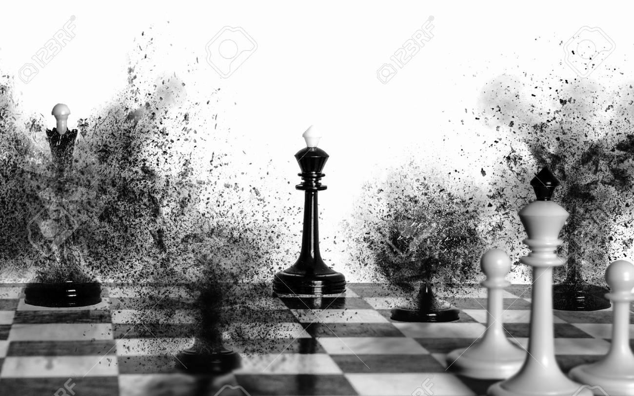 Stock photo white chess king and two white pawns are watching the black pieces are exploding leaving the black king alone