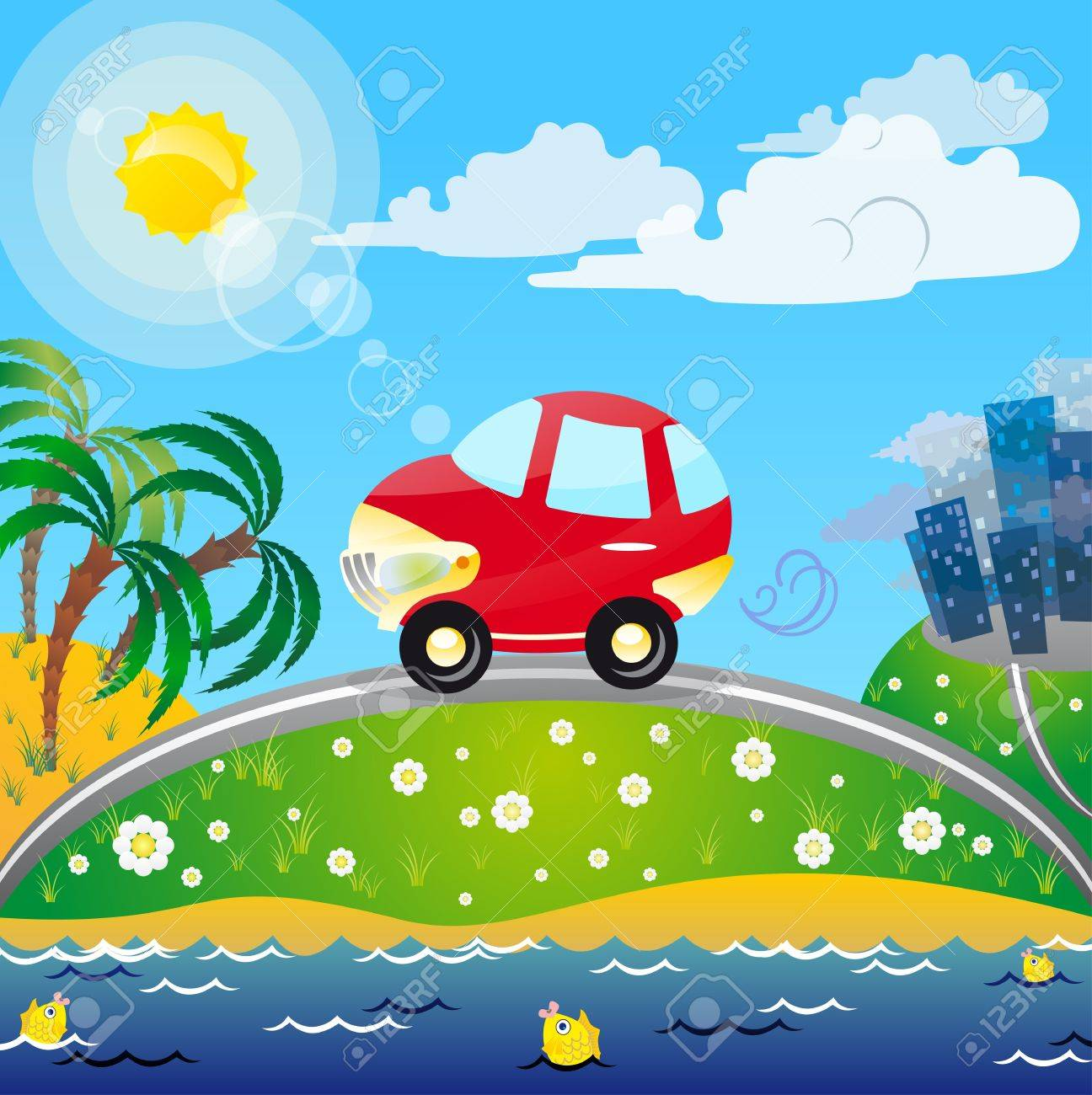 The traveling to the sun, sea and palms - best travel on the car Stock Vector - 13475343
