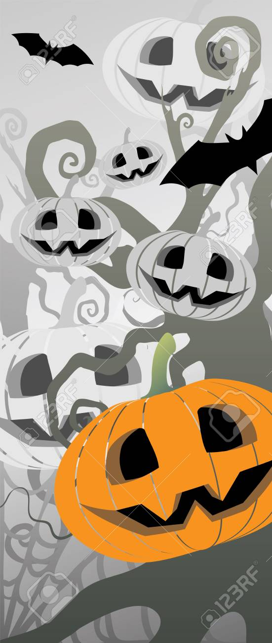 Halloween themed illustration with a pumpkins and bats Stock Vector - 15380077