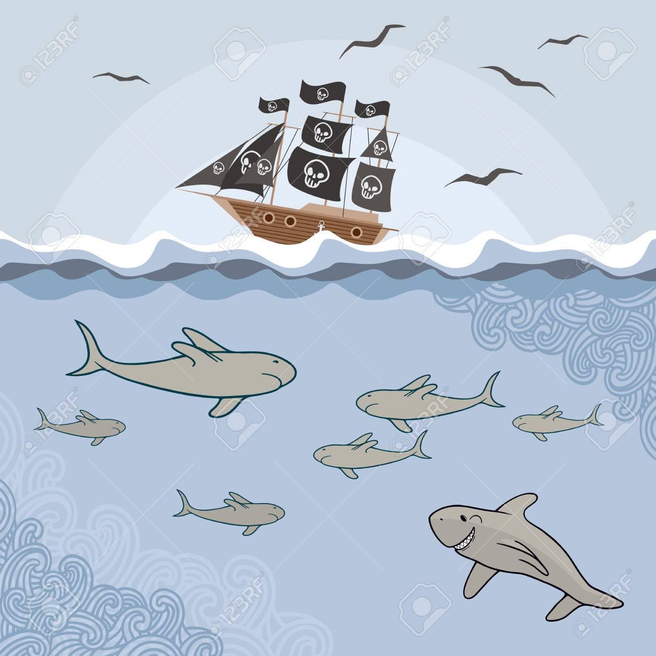 Plantilla Con Tiburones De Dibujos Animados, Las Olas Y La ...