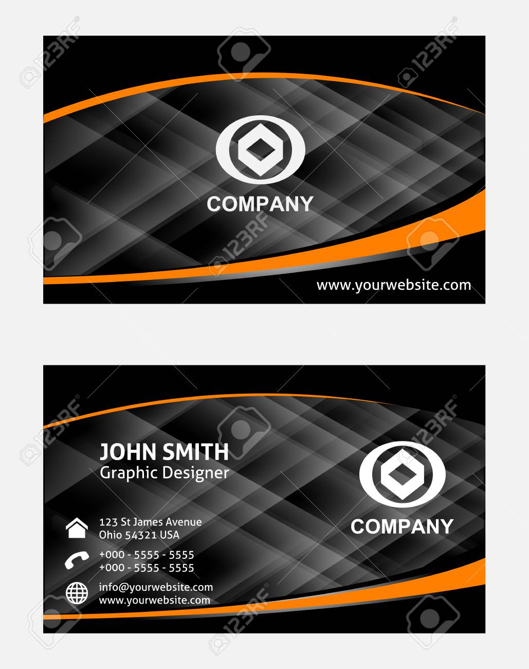 Orange black business card royalty free cliparts vectors and stock orange black business card stock vector 35717871 reheart Images