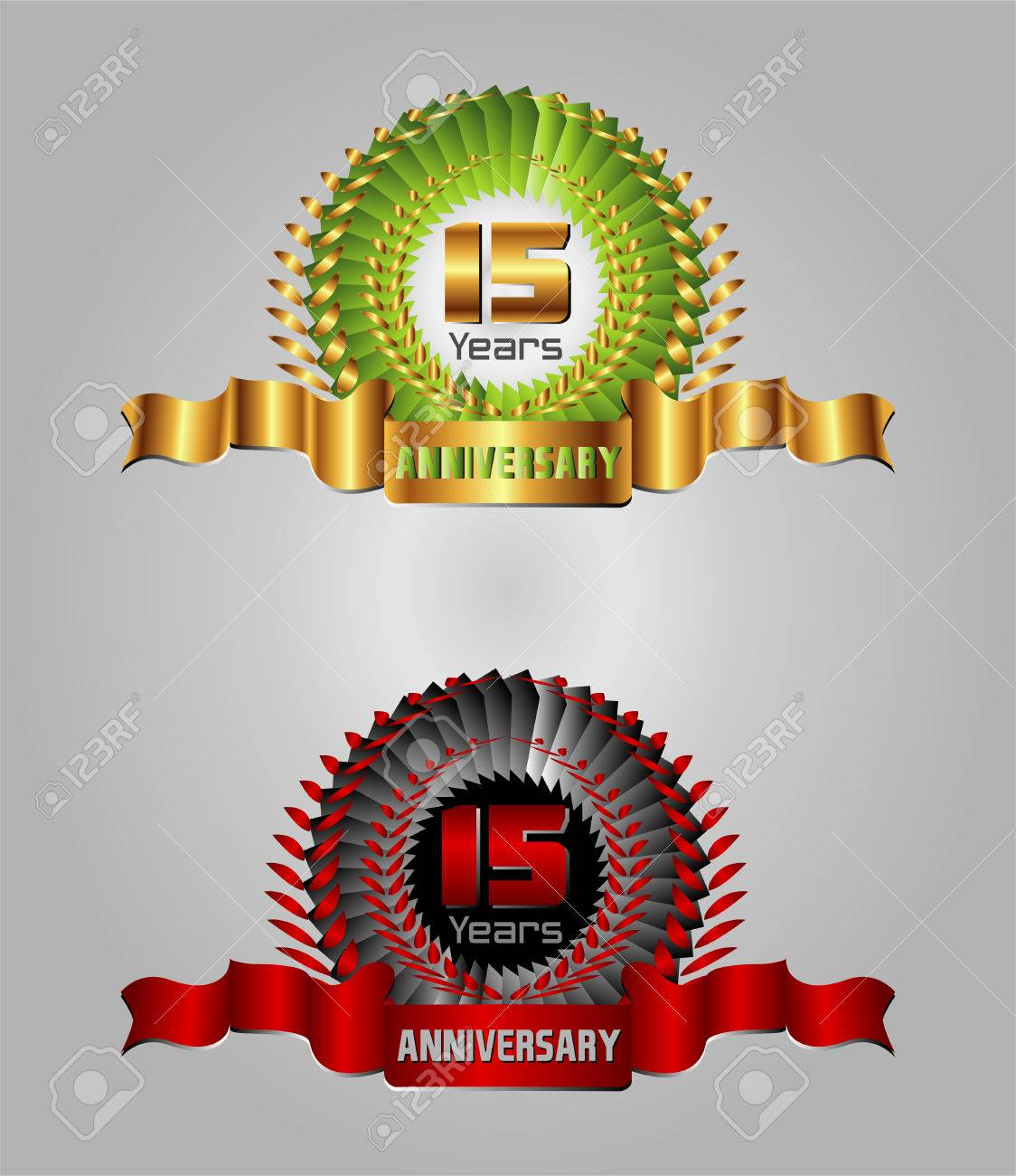 15 Year Anniversary Vector Celebration Royalty Free Cliparts