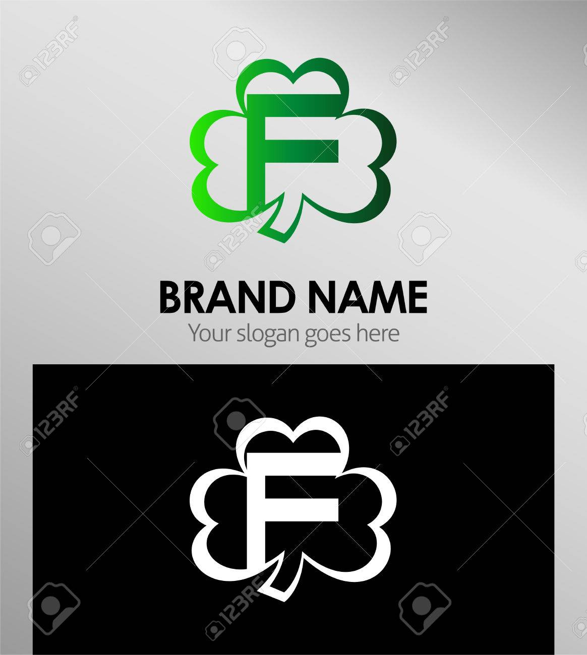 letter f logo design template elements clover icon stock vector 50720611