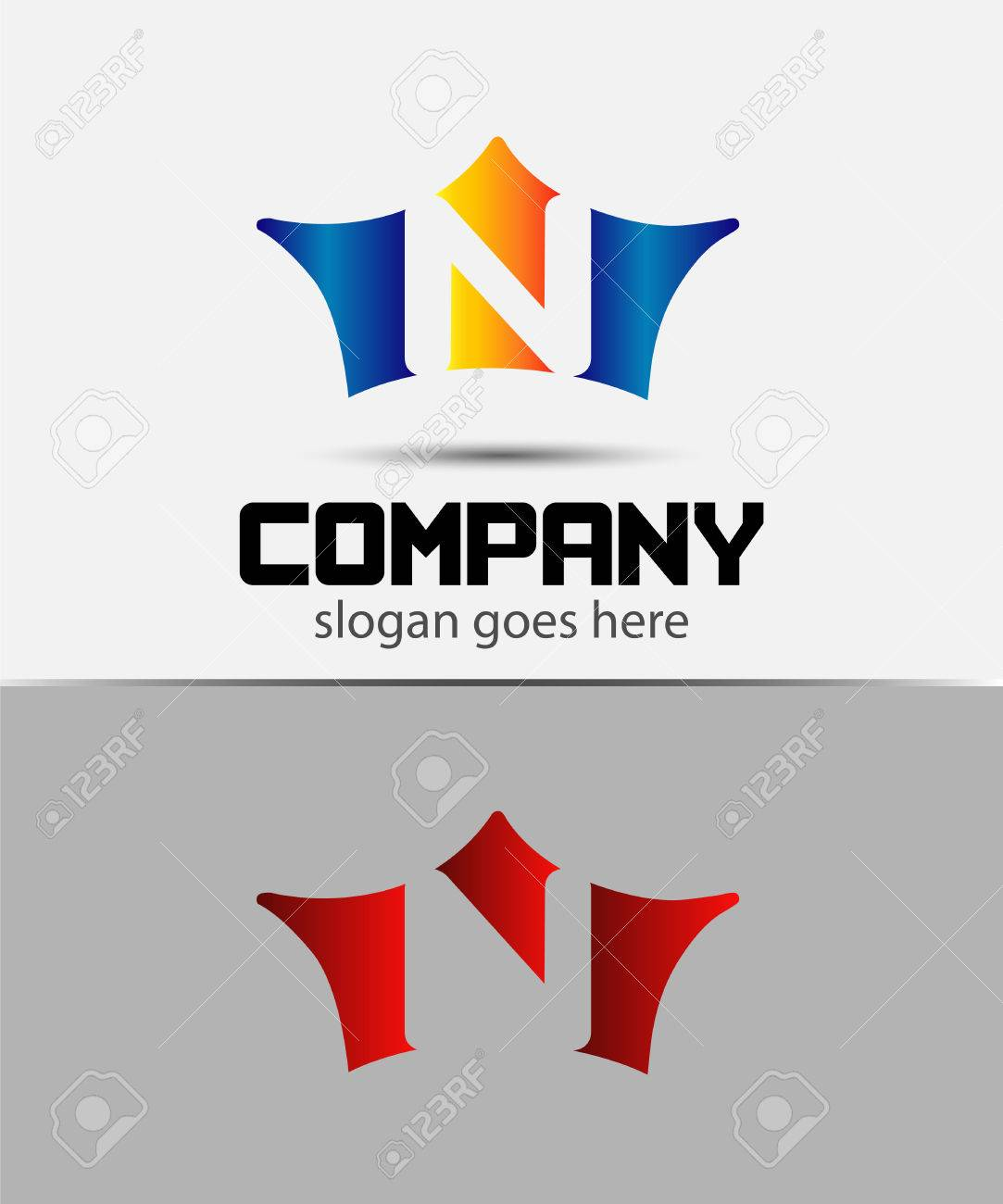 sign the letter n branding identity crown logo design template